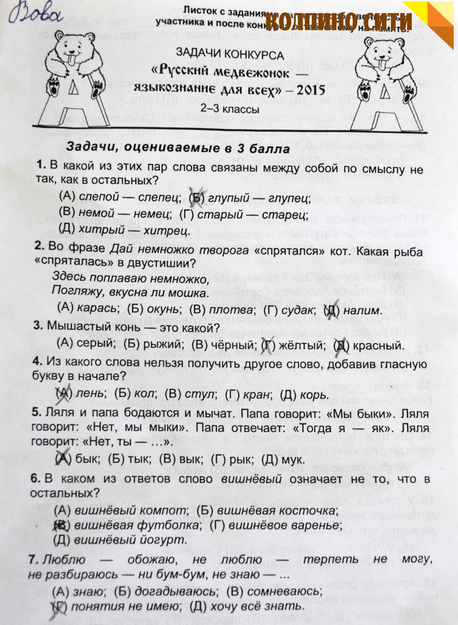 гдз русский медвежонок 2019
